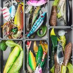 artificial lures in a fishing tackle box